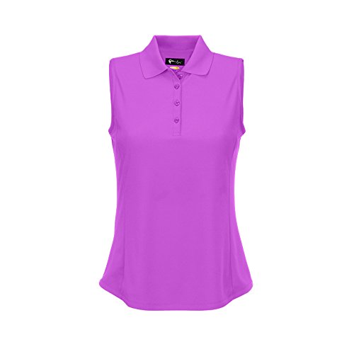 Greg Norman Women's Protek Micro Pique Sleeveless Polo, Orchid, Large