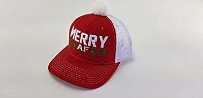 Merry AF Christmas Trucker Hat Red Ugly MAD Xmas hat