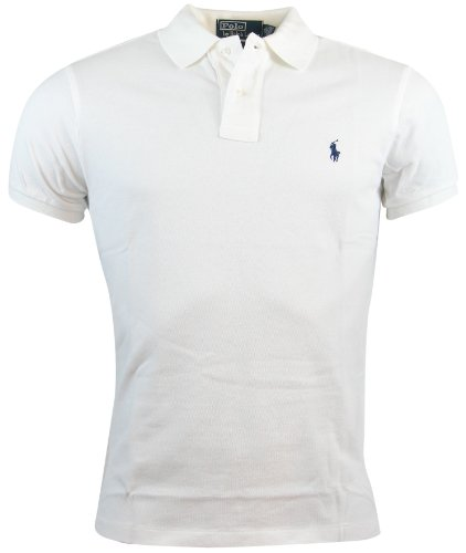 Polo Ralph Lauren Mens Custom Fit Mesh Polo Shirt - M - White (Custom Fit Polo)