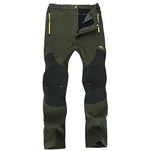 KAISIKE Men's Outdoor Windproof Fleece Lined Hiking Pants Waterproof Snow Ski Pants(M0105)