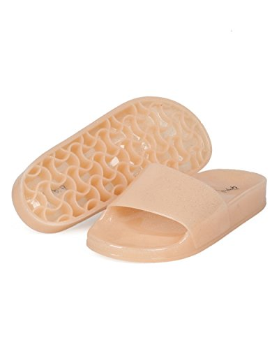 Alrisco Femmes Paillettes Gelée Plage Glissement - Open Toe Moulé Semelle Chausson - Pool Lounge Casual Tous Les Jours Glisser Sur Sandale - Hd63 Par Qupid Collection Nude Mix Media