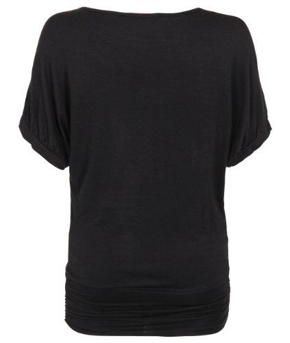 KRISP Womens Short Sleeve Dolman Top Boatneck Black Tee Shirt With Necklace