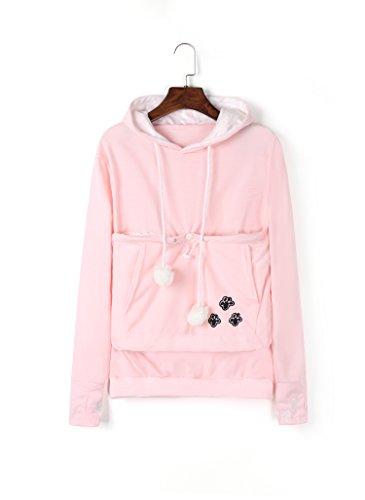 - Unisex Big Kangaroo Pouch Hoodie Long Sleeve Pet Dog Holder Carrier Sweatshirt,Pink,Medium