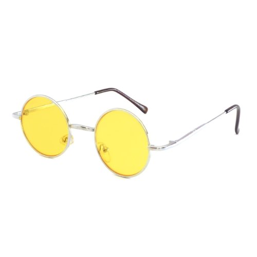 John Lennon Vintage Style Round Silver Party Shades Sunglasses YELLOW - Color Lennon John Eye