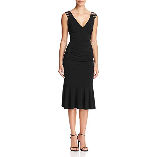 Laundry by Shelli Segal Women's Strappy Jersey Midi Cocktail with Flounce Hem, Black, 2 from Laundry by Shelli Segal
