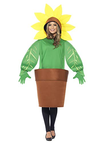 Smiffys Adult Unisex Sunflower Costume, Top with Attached Hood, Plant Pot and Gloves, Funny Side, Serious Fun, One Size, -