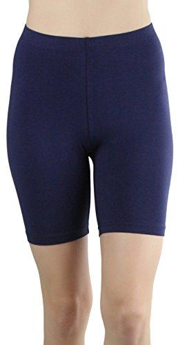 Ladies Navy Blue Short - ToBeInStyle Women's Cotton-Spandex Blend 15