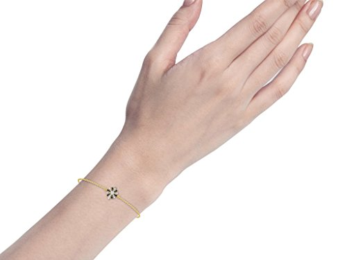 Or Jaune 9 ct Bracelet Diamant en forme de fleur, 0.03 Ct Diamant, GH-SI, 1.04 grammes.