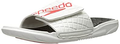 Speedo Men's Exsqueeze Me Rip Slide Sandal, White/Black, 7 M US