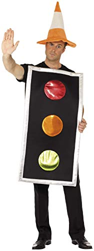 (Smiffys Adult Unisex Traffic Light Costume, Printed Tabard and Traffic Cone Hat, Funny Side, Serious Fun, One Size,)