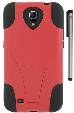 For Samsung Galaxy Mega 6.3 Double Layer Hybrid Stand Cover Case with ApexGears Stylus Pen (Red Black)