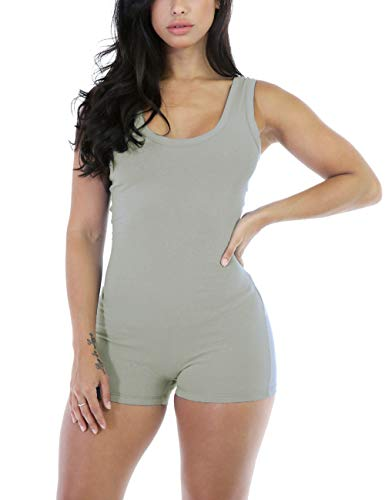 Amilia Sexy Sleeveless Tank Tops Short Romper Sports Jumpsuit Bodysuit One Piece Short Catsuit (XXL, Grey) -