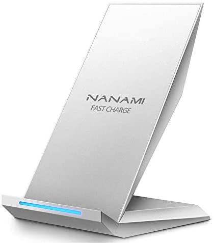 Fast Wireless Charger, NANAMI Qi Certified Wireless Charging Stand Compatible iPhone 12/SE 2020/11 Pro/XS Max/XR/X/8 Plus,Samsung Galaxy S21/S20/S10/S9/S8/S7/Note 20Ultra/10/9/8 and Qi-Enabled Phone