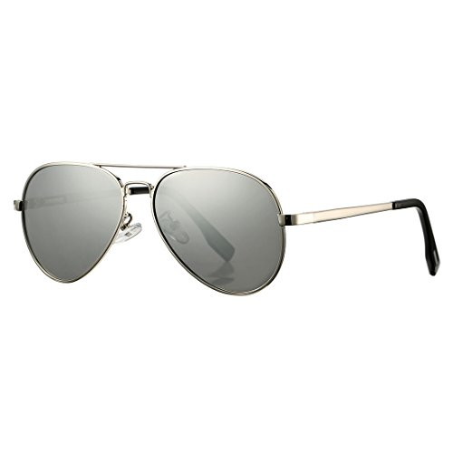 Polarized Aviator Sunglasses for Juniors Small Face Women Men Vintage UV400 Protection Shades(Silver Frame/Silver Mirrored Lens)