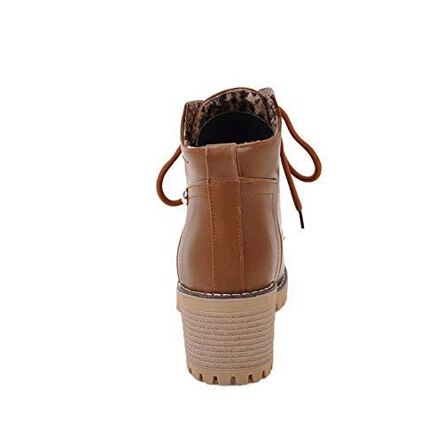 Medio gmmxb114550 Allacciare Tacco Chiusa Punta Luccichio Agoolar Stivali Donna Giallo qfSxntwR