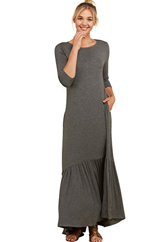 Knit Dress Ruffle (Annabelle Women's Solid Knit Loose Ruffled Hemline Maxi Length Casual Dress Mid Grey Small D5293K)