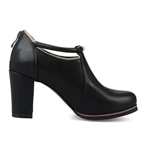 Talons Dames Aiguilles En Épaisses Prom Cuir Pompes Mariage Femmes Noir Jrenok Partie Chaussures Hauts Plate forme wIABnq4