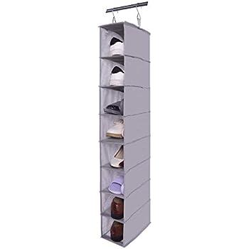 Exceptionnel Amelitory Hanging Shoe Shelves Organizer For Closet 8 Shelf Hanging Shoe  Holder Fabric Gray