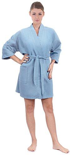 Women's Knee Length Waffle Weave Kimono Bathrobe, Light Blue, One Size