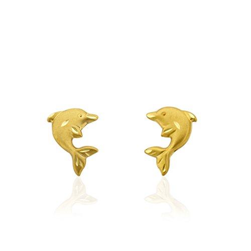 10K Gold Satin Finish Diamond Cut Dolphin Stud Earrings
