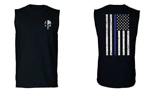 VICES AND VIRTUESS Big Front Flag Thin Blue Line USA American Flag Police Support Blue Lives Matter Men's Muscle Tank Top Sleeveless t Shirt (Black 2X ()