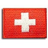 スイス 国旗 アイロン ワッペン ミニ 約33mmx24mm