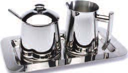 Frieling Stainless Steel Creamer, Sugar Bowl with Spoon and Tray Set by Frieling