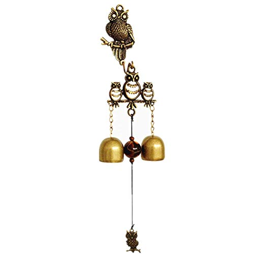 MUAMAX Antique/Vintage Owl Doorbell Wall Mount Door Entrance Shopkeeper Metal Bells Garden Home Office Kitchen Decorative Brass Bells Store Wind Chime Magnetic (Small)]()