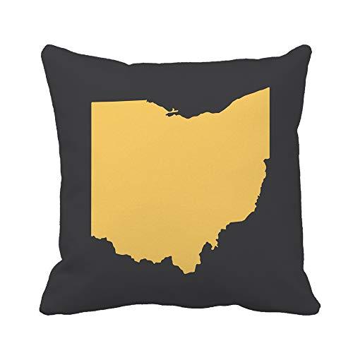Awowee Throw Pillow Cover Cincinnati Ohio Yellow Border Map Cleveland Toledo Abstract America 20x20 Inches Pillowcase Home Decorative Square Pillow Case Cushion Cover (Ohio Patio Rooms Cincinnati)