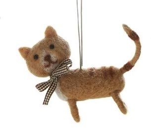 On Holiday Felted Wool Tan Kitten Christmas Tree Ornament