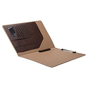 Folio Cover Case with Spring Clip Pad for Organizing Loose Documents Notepad,Writing Pad,Presentation Folder,Coffee