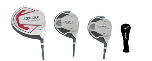 XLT-XS STIFF Flex Woods Set w460cc Over Sized Forged Driver + 3 & 5 Fairway Woods: Graphite Shafts + Head Covers Right Hand, Cadet, Regular or Tall Length ()