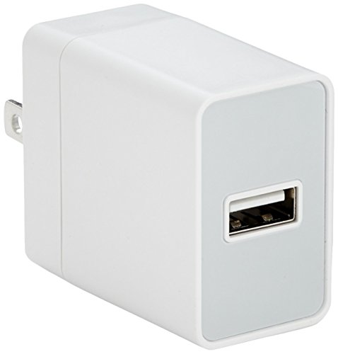 AmazonBasics One-Port USB Wall Charger (12-Watt)  Compatible With iPhone and Samsung Phones - White