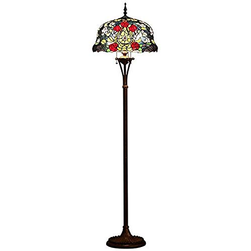 XUEGM-Light Tiffany Style Floor Lamp, Painted Glass Floor Lamp European Design Rose, Bedroom Living Room Floor Lamp