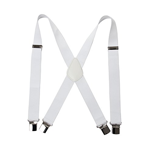 Men' s X Back Suspenders with 4 Quality Controlled Clips & 1.4