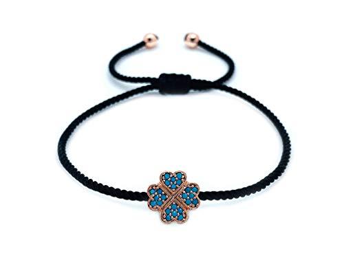 Sententia Jewelry Handmade Adjustable String Four Leaf Clover Bracelet for Women I Red, Blue, Black Braided String I (Black)
