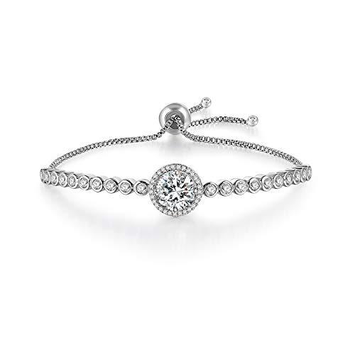 Gercia Adjustable Women Bracelets Cubic Zirconia Tennis Bracelet Jewelry Gift for Women Girls,Crystals from Swarovski ()