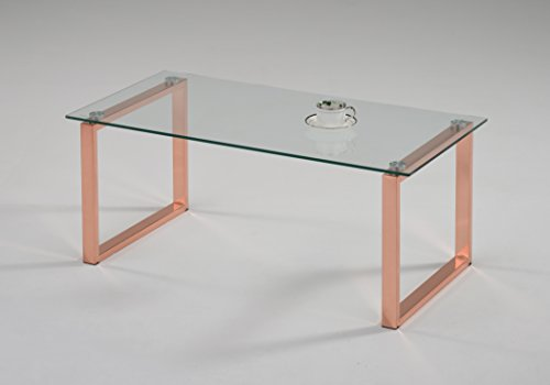 e Jelm Rose Gold Finish Metal With Temper Glass Coffee Table (Coffee Table Roses)