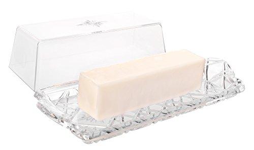 Fancy Break Resistant Plastic Butter Dish with Lid