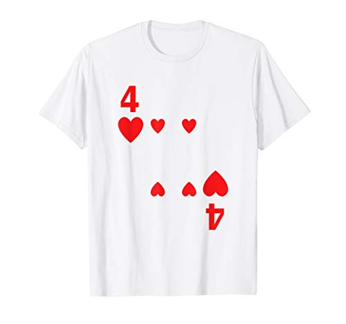 Four of Hearts Tshirt poker playing card costume tee shirt ()