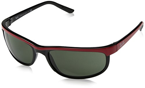 Ray-Ban 2027 Predator 2 Sunglasses, Non-Polarized, Top Red on Black/Clear Gradient Grey, 62 mm