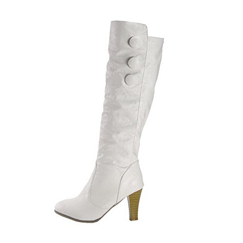 Allhqfashion Women's Round Closed Toe High-top High-Heels Solid PU Boots White dtPRDIUBtC