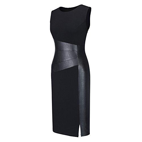 Ruiyige Mujers elegante cuero empalme ajuste túnica Vestido de Novia Negro
