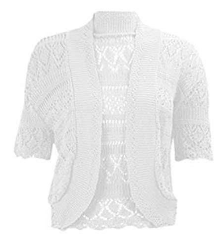 Womens Chorochet Knitted Bolero Cardigan Shrug Top#(White Knitted Bolero Shrug#US 26-28#Womens)