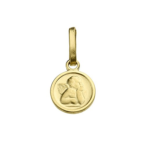 - Solid 14K Yellow Gold Round Guardian Angel Medallion Charm Pendant