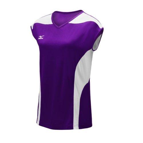 Mizuno Women's Performance Cap Sleeve G3 Jersey, Purple/White, Medium Mizuno Stretch Jersey
