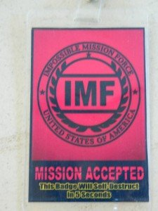 HALLOWEEN COSTUME MOVIE PROP - ID Security Badges, IMF Mission Impossible (2)