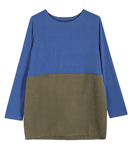 JackenLOVE Casual et Shirts Sweat Fashion Longue Tunique Tops Rond Col Manches Pulls Printemps Tee Hauts Vert T Bleu Femmes Longues Shirts Jumper Patchwork Blouse Automne r7qnr5Bw