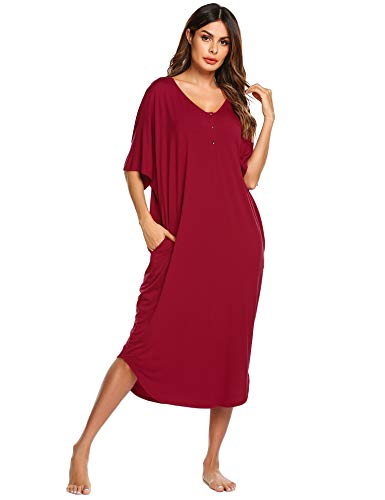 (Ekouaer Cotton Sleepshirt Women's Soft Solid Nightgowns Long Plus Size Sleepwear with Pockets(Wine Red,L))
