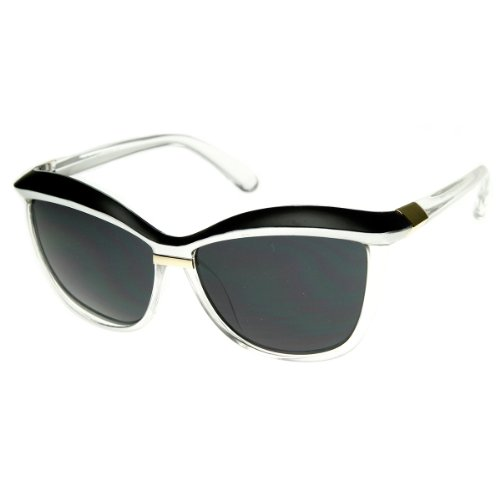 Womens Oversized Two-Tone Fashion Cat Eye Sunglasses (Black-Silver)